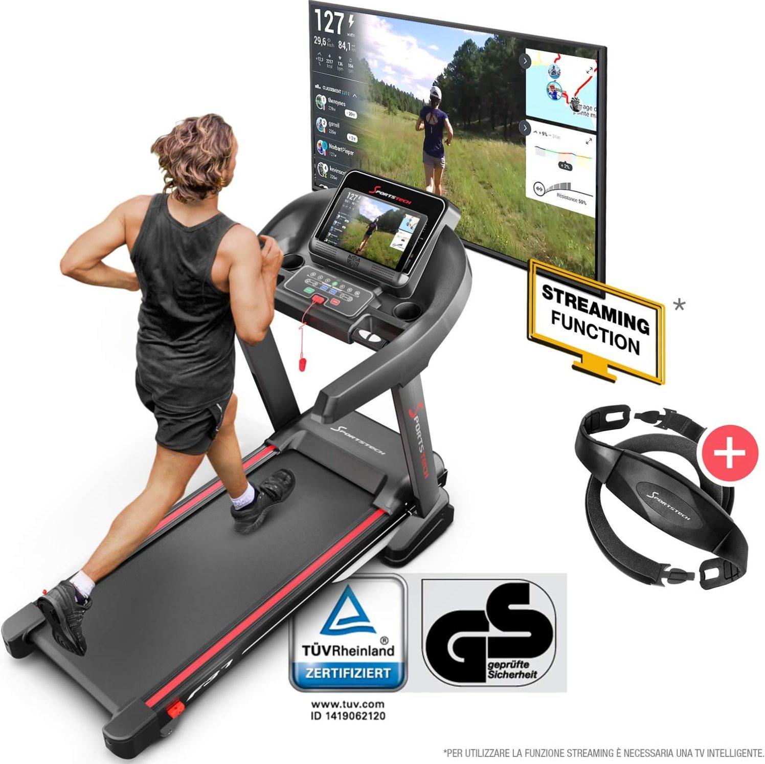 Runner corre su tapis roulant e guarda schermo tv