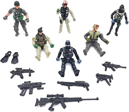 Amazon Com Qiandier 6 Pcs Military Team Action Soldiers Special Force Marine Recon Figure Elite Force Army Toys Games
