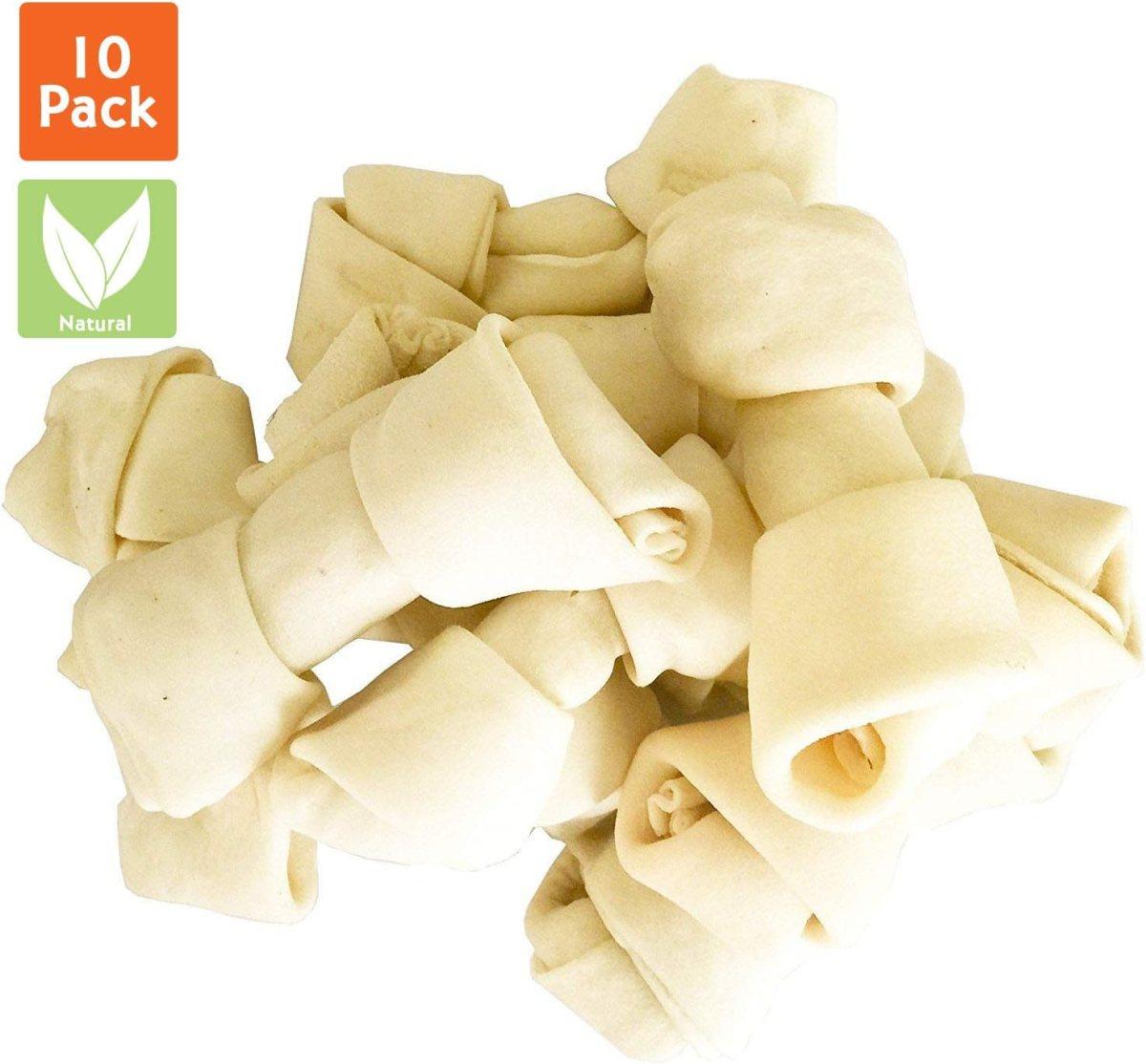 Huesos de Cuero Crudo Natural – Delicias masticables para Perros Altamente proteicas y Bajas en Grasa para los Dientes y el Comportamiento de los Perros sanos, 10 Unidades (Medio)