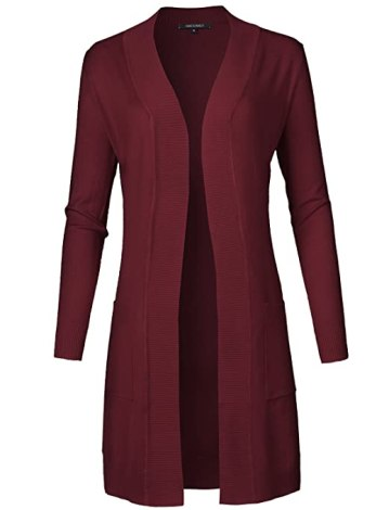 Solid Soft Stretch Longline Long Sleeve Open Front Knit Cardigan Burgundy Size M