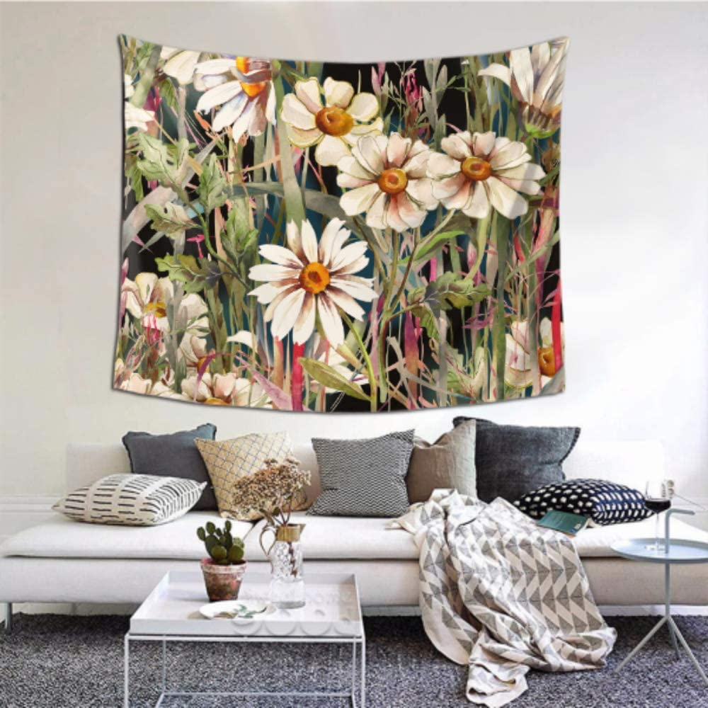 N A Outdoor Wall Decorations Beautiful And White Field Flowers Waterproof Wall Hanging 60x51 Inches 152x130cm Wall Hanging Art Home Decor Polyester For Living Room Bedroom Dorm Amazon Co Uk Kitchen Home