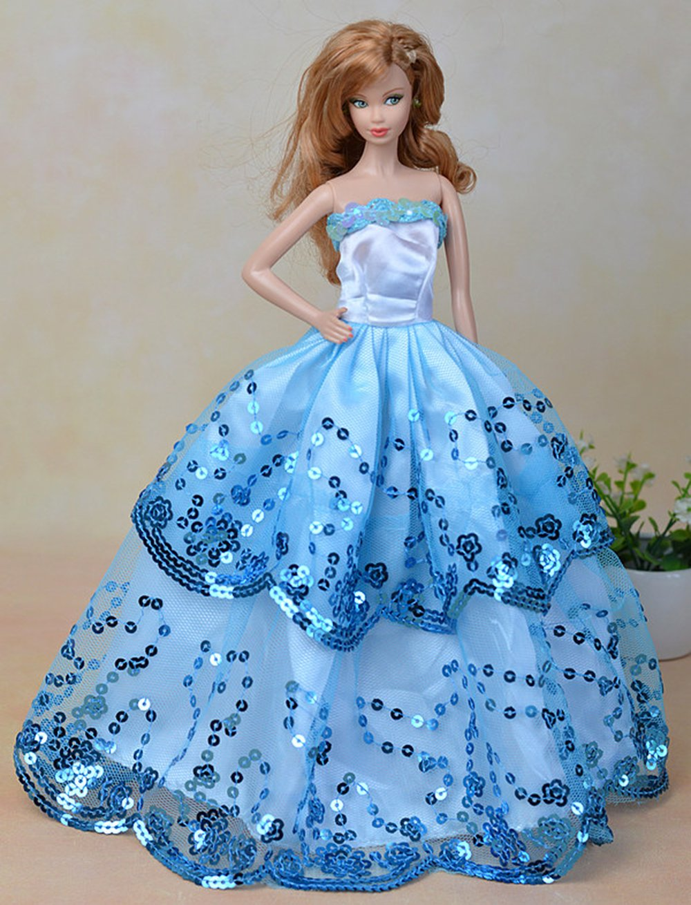 Blue Ball Gown with Light Blue Sequined Lace Details