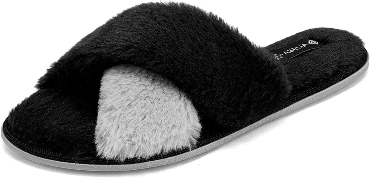 DREAM PAIRS Women's Black Grey Cross Band Soft Fuzzy Fluffy Slip on Indoor House Slippers Size 7-8 M US Abelia