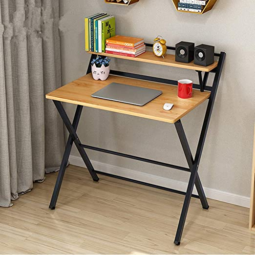 Amazon Com Kcper Folding Study Computer Desk Home And Office Desks With Keyboard Tray Writing And Laptop Console Table For Bedrooms Modern Minimalist Design Furniture Khaki Kitchen Dining