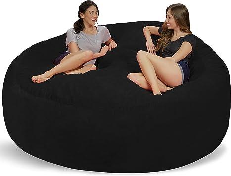 Amazon Com Chill Sack Bean Bag Chair Giant 8 Memory Foam Furniture Bean Bag Big Sofa With Soft Micro Fiber Cover Black Furry Furniture Decor