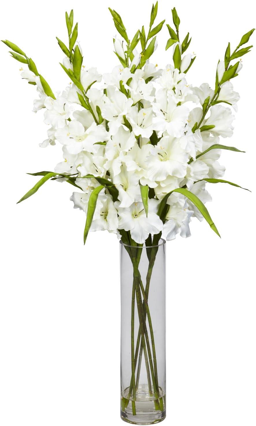 Amazon Com Nearly Natural 1240 Wh Large Gladiola With Cylinder Vase Silk Flower Arrangement White 42 X 11 X 11 Home Kitchen