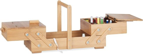 Relaxdays XL Bamboo Sewing Box