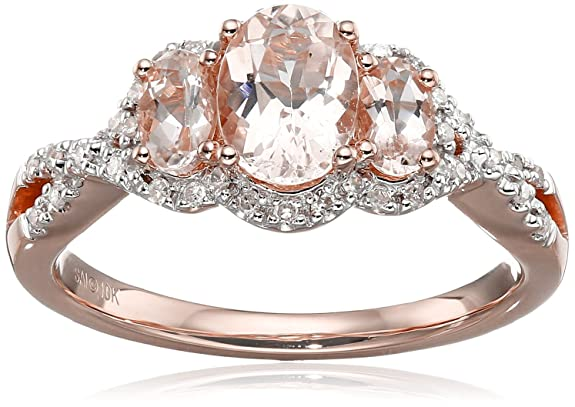 10k Pink Gold Morganite and Diamond 3-Stone Ring (1/10cttw, I-J Color, I2-I3 Clarity), Size 7