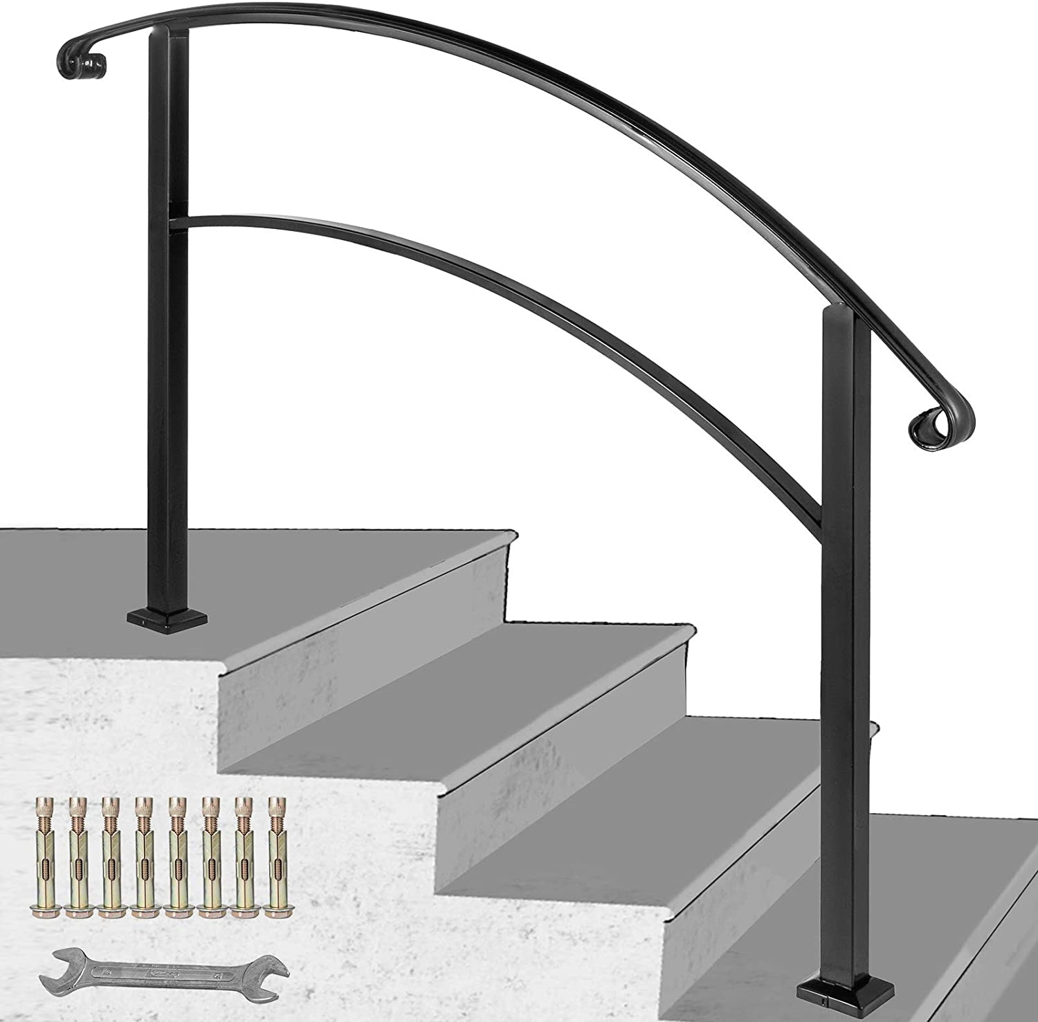 Happybuy 4 Step Handrail Fits 1 Or 4 Steps Matte Black Stair Rail   Iron Handrails For Steps   Hand   Iron Railing   Iron Picket   Craftsman Style   Double Storey House