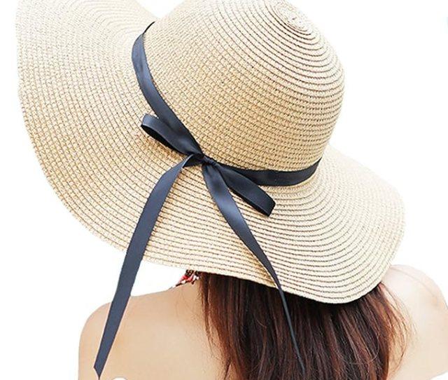 Itopfox Womens Big Brim Sun Hat Floppy Foldable Bowknot Straw Hat Summer Beach Hat Beige