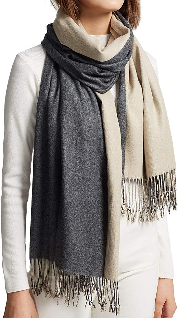 MaaMgic Womens Soft Cashmere Feel Pashmina Shawls Wraps Big Blanket Fall Winter Scarf for Girls, Dark Grey and Cream