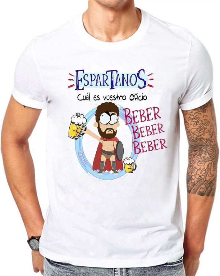 Camiseta Espartanos cual es vuestro Oficio, Beber. Camiseta Divertida para Despedidas Solteros, Feria, Fiestas, botellon, Grupos de Amigos.