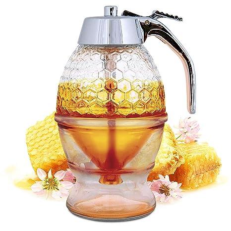 Vintage Acrylic Bee Hive Syrup Honey Dispenser, No Drip, Pressed Honey Syrup Server