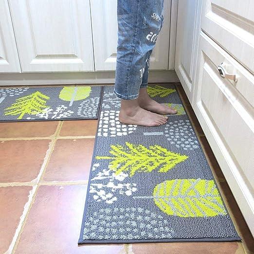 Amazon Com Hebe Kitchen Rugs Runner Set 2 Piece Non Slip Kitchen Mat And Rug Set Rubber Backing Doormat Runner Rug Set Machine Washable 18 X28 18 X48 Kitchen Dining