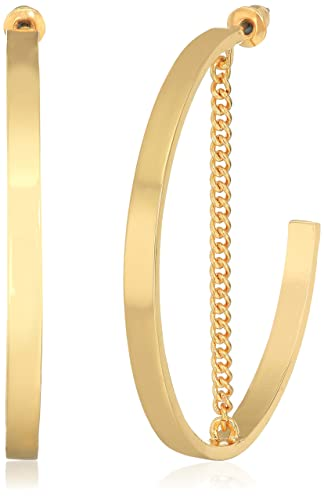 Steve Madden Gold Large Open Hoop with Chain Post Drop Earrings