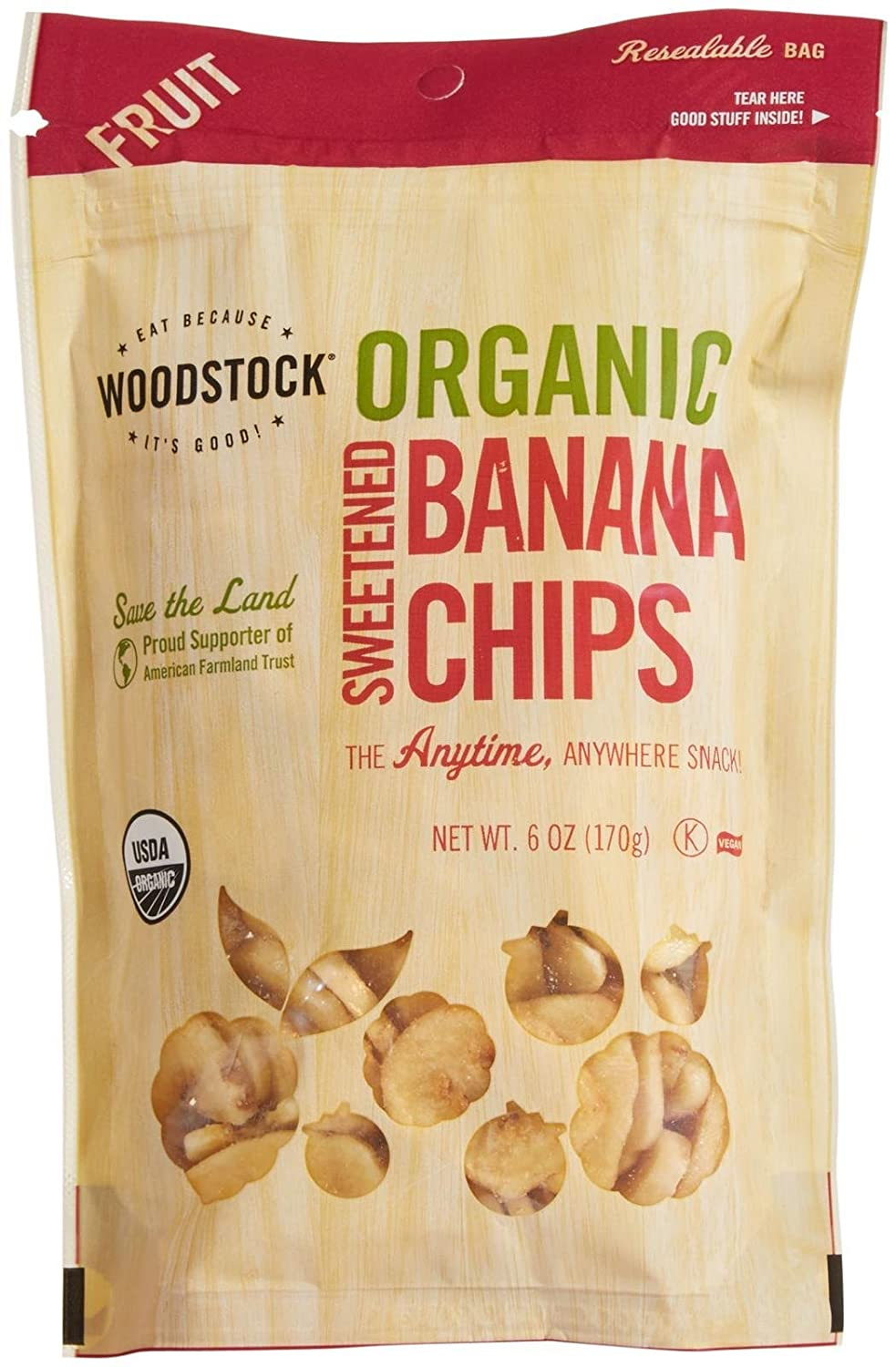 Woodstock Farms Organic Banana Chips-Sweetened-6 oz