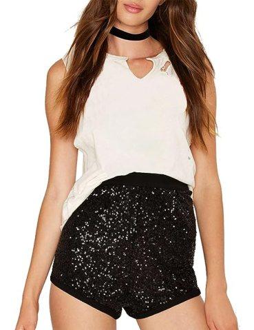 Haoduoyi Womens Flashy Booty Sequin High Waist Clubwear Party Hot Shorts(L,Black)