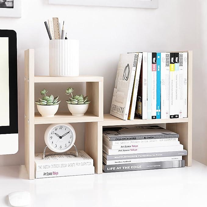 Jerry & Maggie - Desktop Organizer Office Storage Rack Adjustable Wood Display Shelf   Birthday Gifts - Toy - Home Decor   - Free Style Rotation Display - True Natural Stand Shelf White Wood Tone