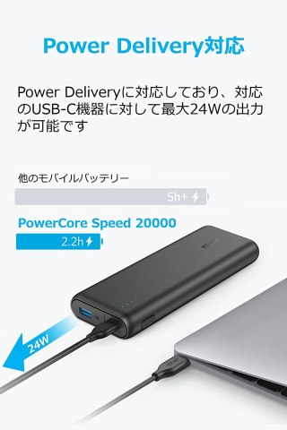 Anker PowerCore Speed 20000 PD MacBookに充電中