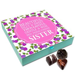 Chocholik Rakhi Gift Box – My Sister is Beautiful Silly and Sweet Chocolate Box for Sister – 9pc