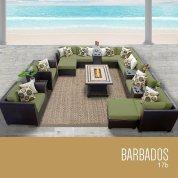 TK Classics 17 Piece Barbados Outdoor Wicker Patio Furniture Set, Cilantro 17b