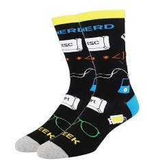 Men's Colorful Crazy Patterned Geek Nerd Crew Socks Novelty Funny Cotton Socks