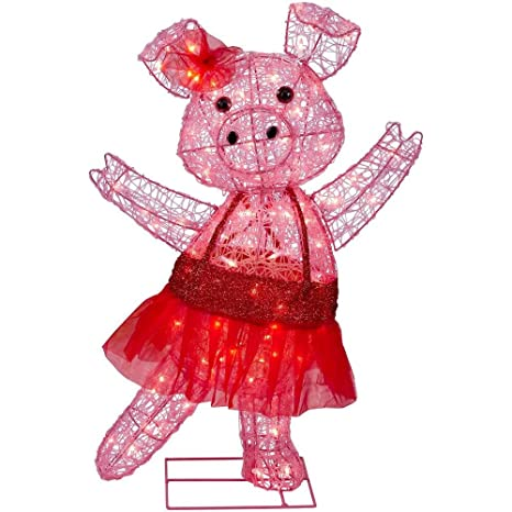 Christmas 32 Lighted Pink Acrylic Pig Ballerina Red Festive Tutu Indoor Outdoor Decoration