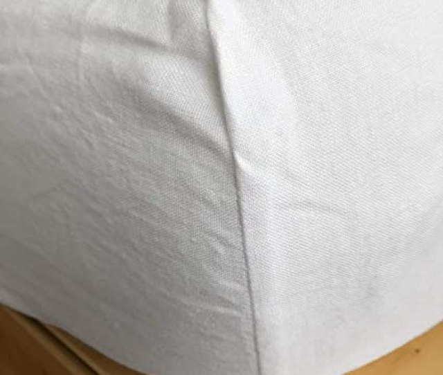Amazon Com Linoto 100 Linen Fitted Sheet White Queen Size Home Kitchen