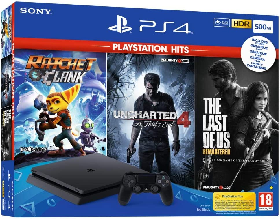 Playstation 4 500go + 3 Jeux Playstation Hits : The Last Of Us + Ratchet & Clank + Uncharted 4