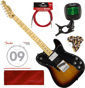 Squier by Fender Vintage Modified Telecaster Custom Electric Guitar - 3-Color Sunburst - Maple Fingerboard with Tuner and Bundle