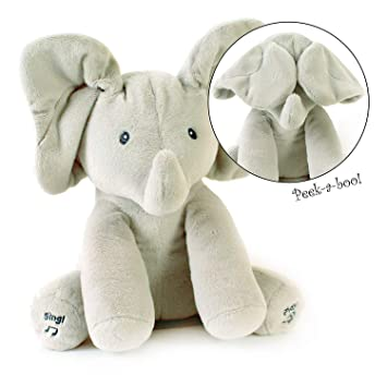 Yiwant Plush Toy Peek A Boo Elephant Hide And Seek Game Baby Animated Flappy Ear Elephant Plush Toy Singing Talking Cute Stuffed Animals For Babies