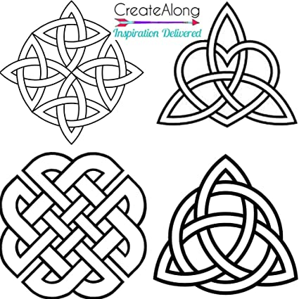 Amazon Com Silkscreen Stencil 4 Celtic Knots Irish Patterns Multi Image For Polymer Clay And Mixed Media