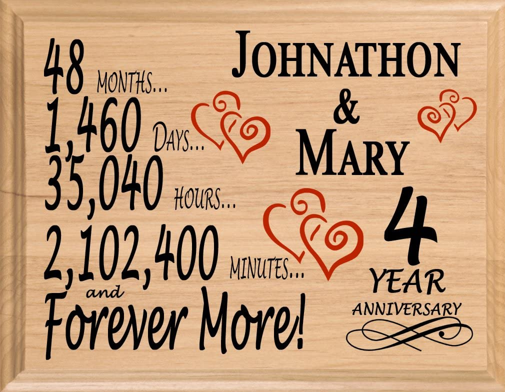 Amazon Com Broad Bay 4th Personalized 4 Year Anniversary Wedding Gift For Wife Husband Couple Him Her Home Kitchen