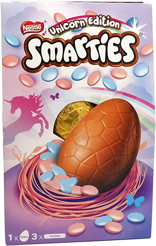 Image result for Smarties Unicorn Milk Chocolate Giant Easter Egg
