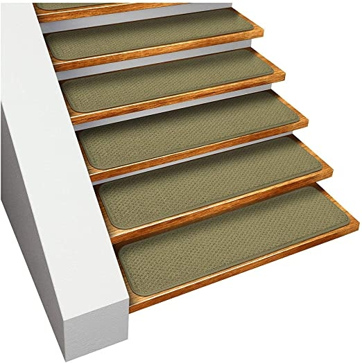Amazon Com House Home And More Set Of 15 Skid Resistant Carpet   Carpet Stair Treads Amazon   Non Skid   Anti Slip   Beige   Skid Resistant   Tread Rugs