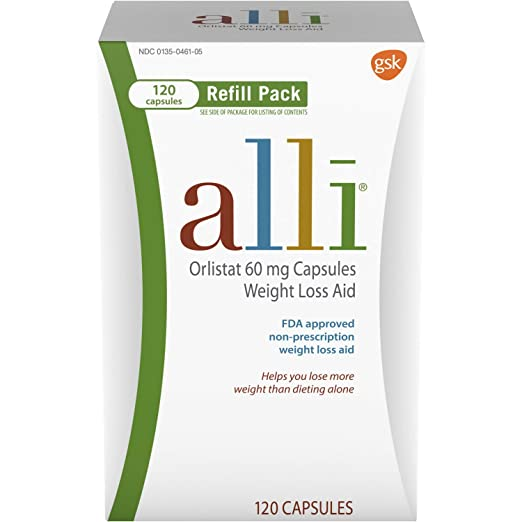 alli Weight Loss Diet Pills, Orlistat 60 mg Capsules, 120Count Refill Pack