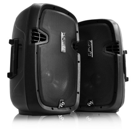 Pyle Dual 10-inch Powered Speakers With Stand Pa System DJ Speaker