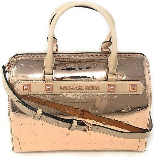 Michael Kors Kara Large Duffle Metallic Leather Satchel Shoulder Bag