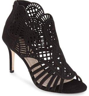 Klub Nico MALLIA Suede Perforated Sandal Open Front Slender Heel Pump Booties (10, Black)