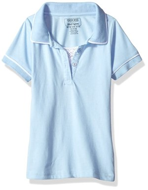 Cherokee Girls' Big Uniform Short Sleeve Polo with Faux Twofer, Light Blue, 7/8