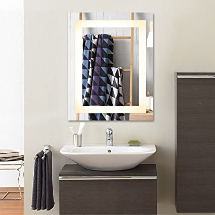 Co Z Wall Mounted Led Mirrors Modern Led Lighted Bathroom Mirror Dimmable Rectangle