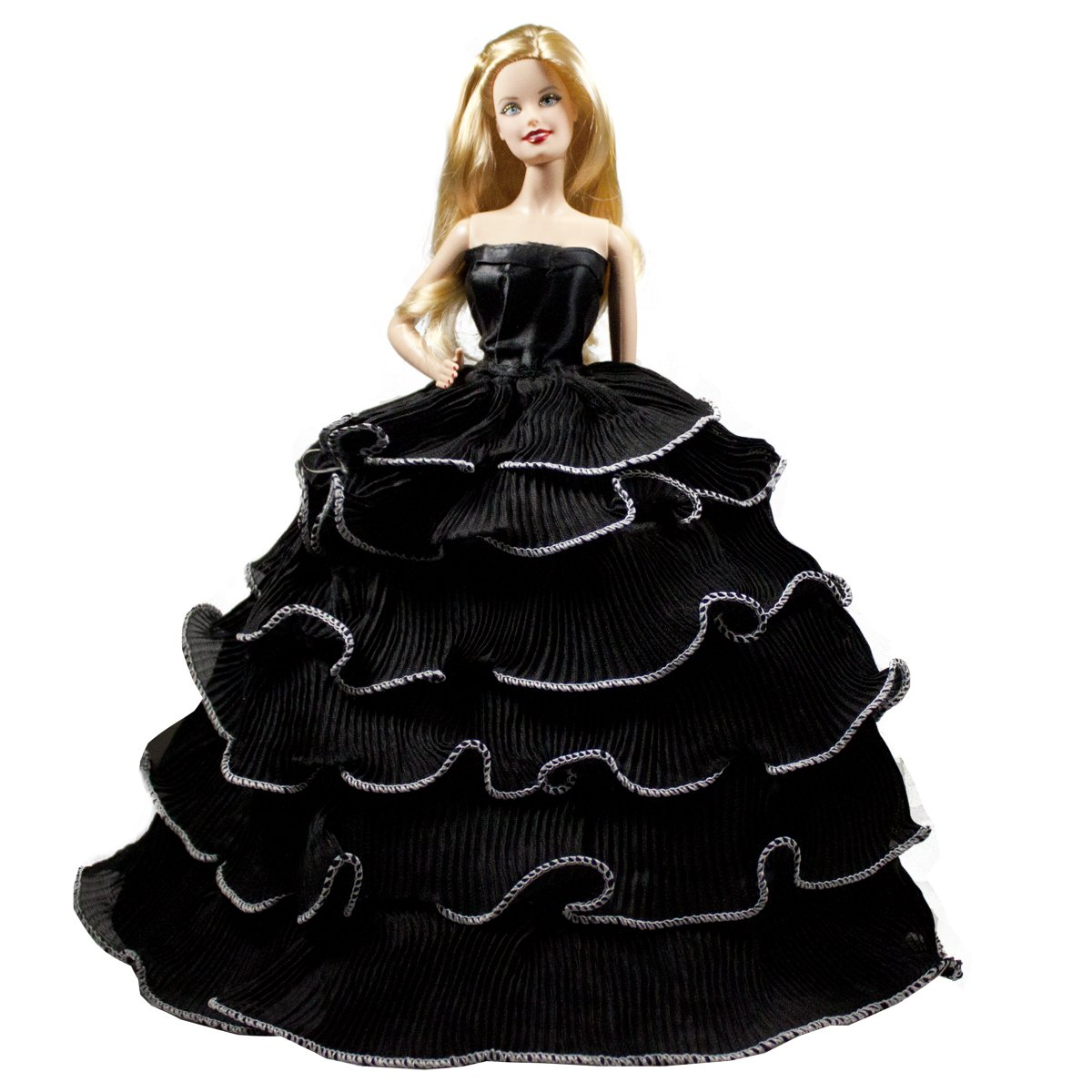 Barbie Romantic Ball Gown Strapless Layered Black Prom Gown Dress