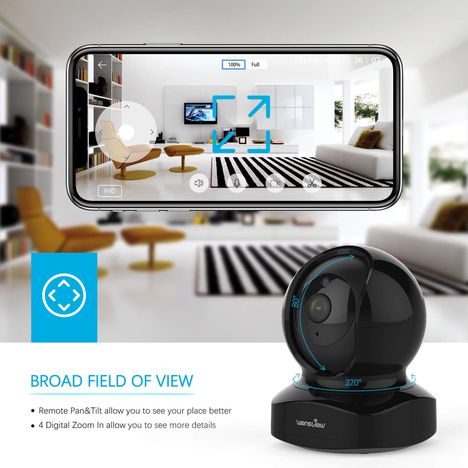 Wireless Security Camera, IP Camera 1080P HD Wansview, WiFi