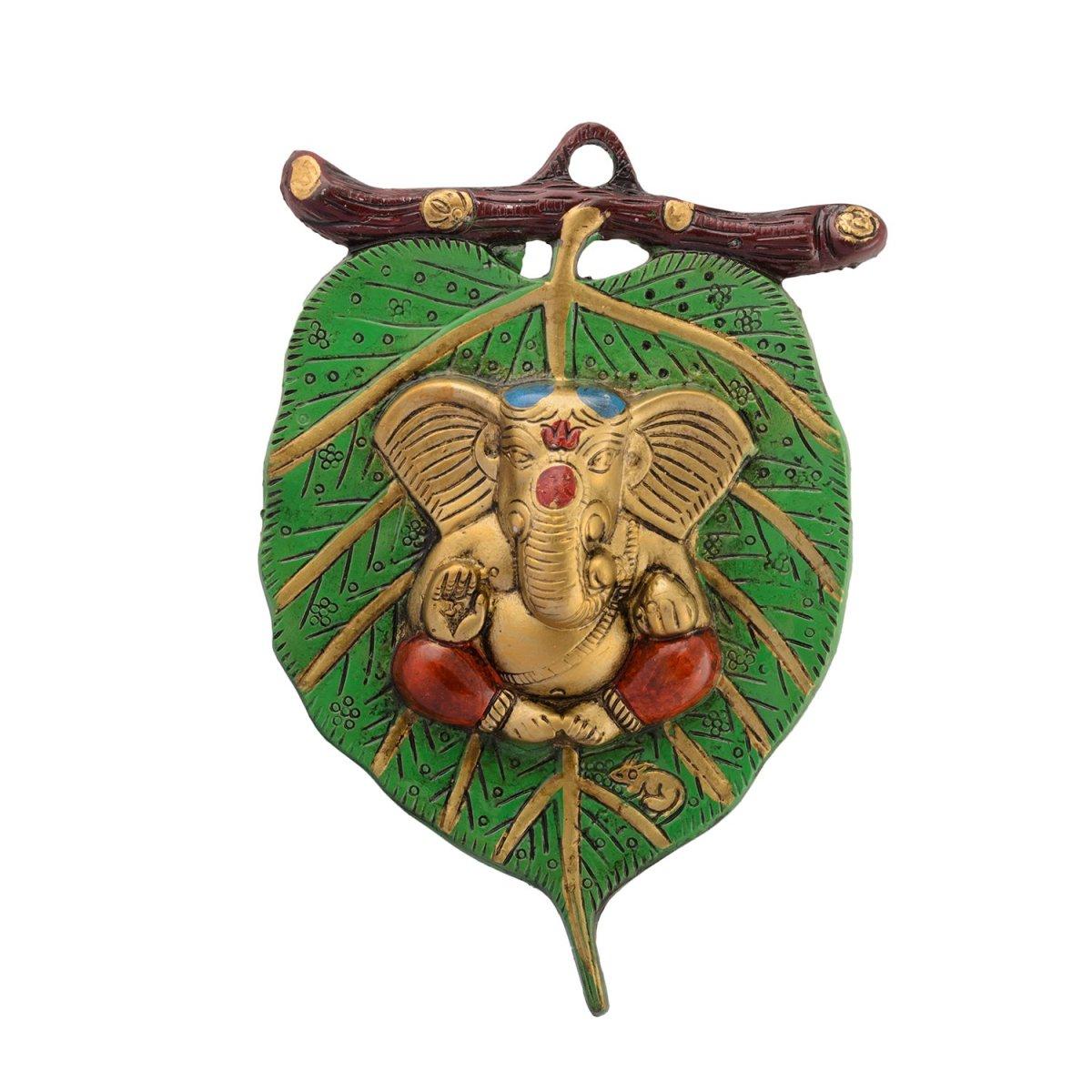 craft India Lord Ganesha on Leaf White Metal Wall Hanging (15 cm x 1.25 cm x 22.5 cm)