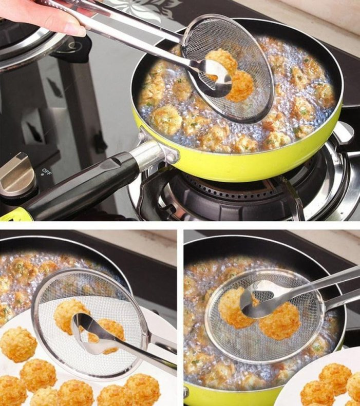 Oil-Frying Filter Fried Food Clip Kitchen Tongs