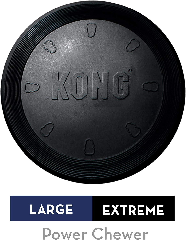 KONG - Extreme Flyer - Frisbee de caucho para mandíbulas potentes, negro - Raza grande