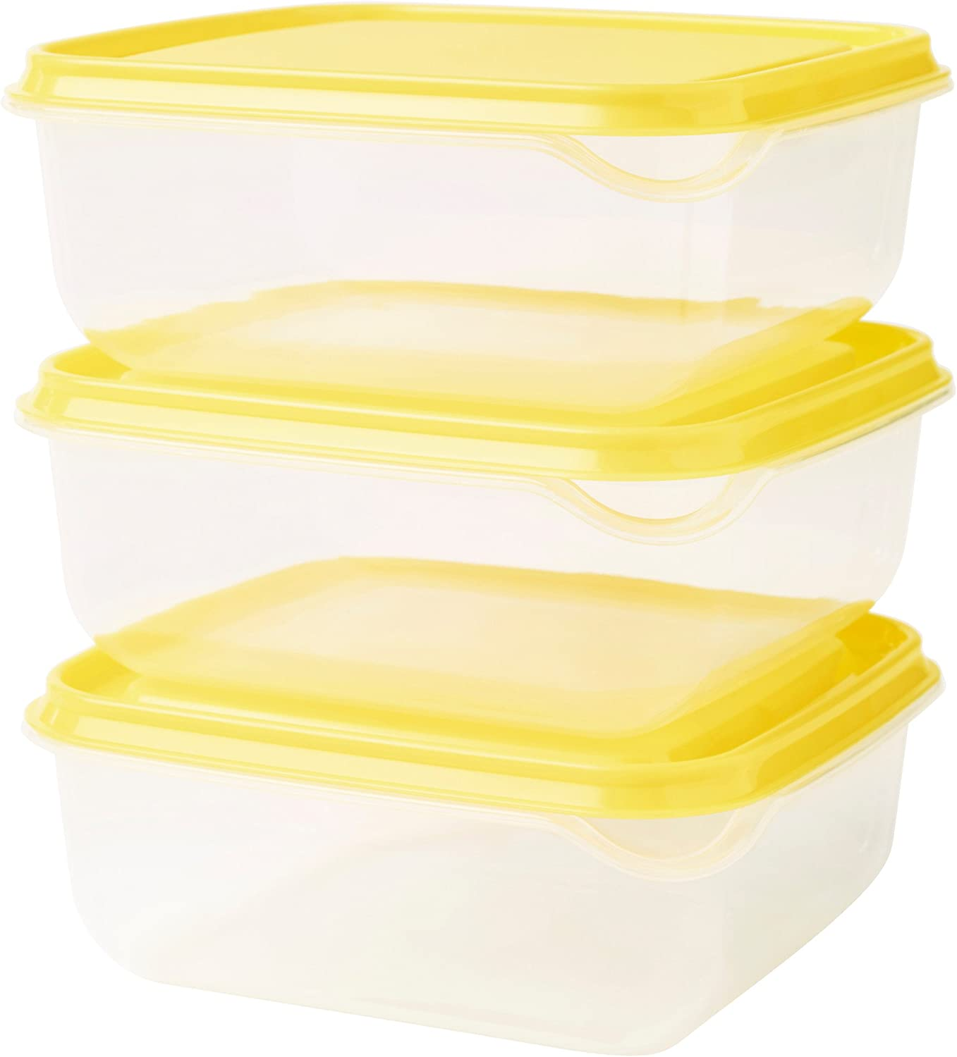 Amazon Com Ikea Pruta Food Storage Square 14x14x2 25 Container 20 Oz 6 Pack Bpa Free Plastic Clear Container Yellow Lid Kitchen Dining
