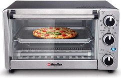 Toaster Oven 4 Slice, Multi-function Stainless Steel Finish with Timer - Toast - Bake - Broil Settings, Natural Convection