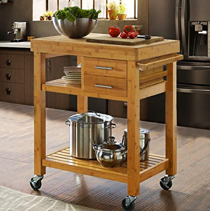 Amazon Com Clevr Rolling Bamboo Wood Kitchen Island Cart Trolley Cabinet W Towel Rack Drawer Shelves Sports Outdoors