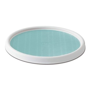 Copco Non-Skid Pantry Cabinet Lazy Susan Turntable 12-Inch White/Aqua